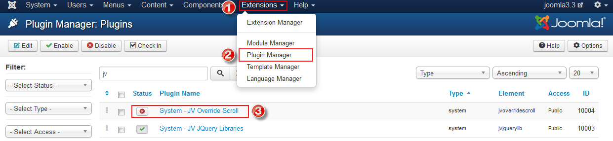 enable joomla plugin
