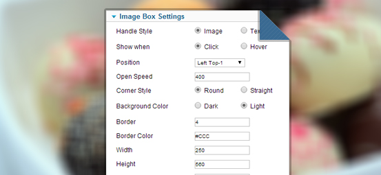 image box settings