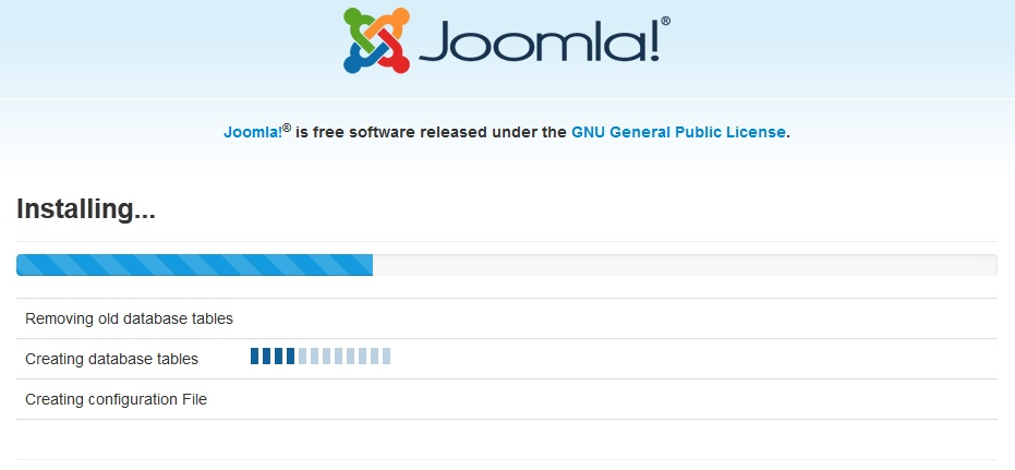 joomla 3 stuck at creating database
