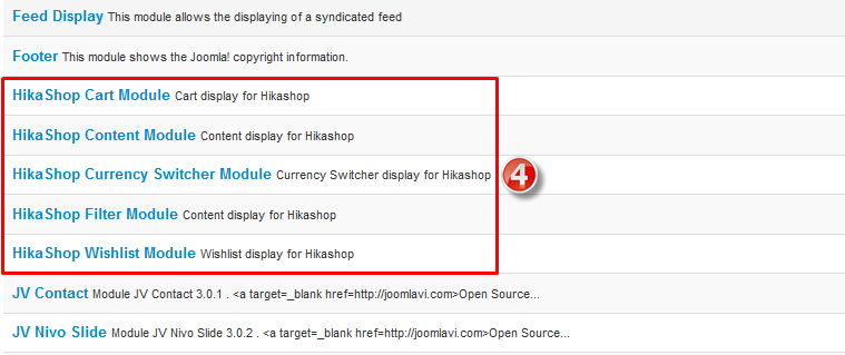 hikashop module types