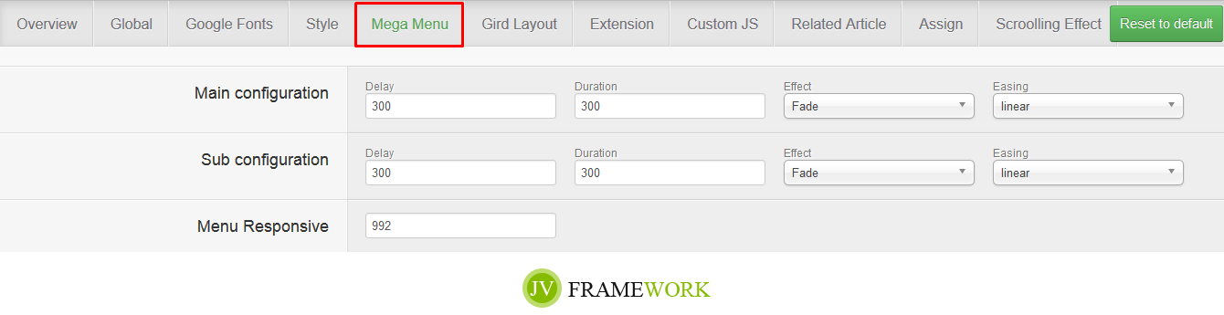JV Framework supports grid layout
