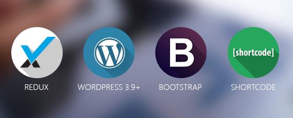 latest wordpress, redux framework, bootstrap, short code